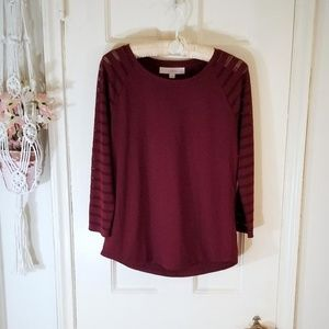 Ann Taylor LOFT Maroon Top with Mesh Sleeve